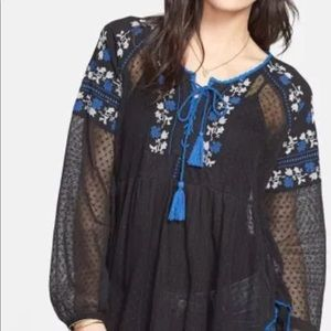 Free People $108 embroidered peasant tunic top S